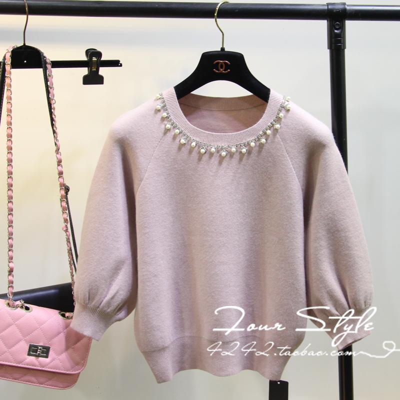 秋季韩版毛衣套头宽松女潮短款七分袖一字领粉色条纹针织衫上衣