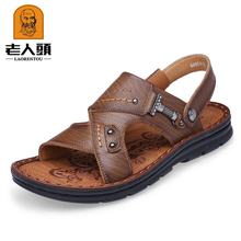 Old head sandals men's new summer 2018 cowhide casual beach shoes leather thick bottom antiskid Middle Age sandals