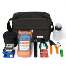 FTTH Optical Fiber Cold Joint Toolkit Fusion Machine Covered with Leather Toolbox Optical Power Meter Red Light Pen Cutter