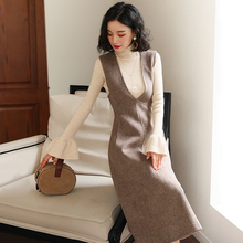 Knitted dress women's autumn and winter 2018 new sweater with strap skirt two piece suit wool knee length skirt
