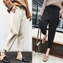 Pregnant women's pants women's autumn and winter Plush thickened pants outside in winter
