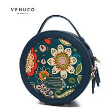 Venuco retro messenger bag women's Bag Mini round bag printed round bag messenger bag women's bag 2017 NEW