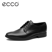 Ecco love walking autumn and winter new business leather shoes simple retro trend round head Derby shoes ink 621634
