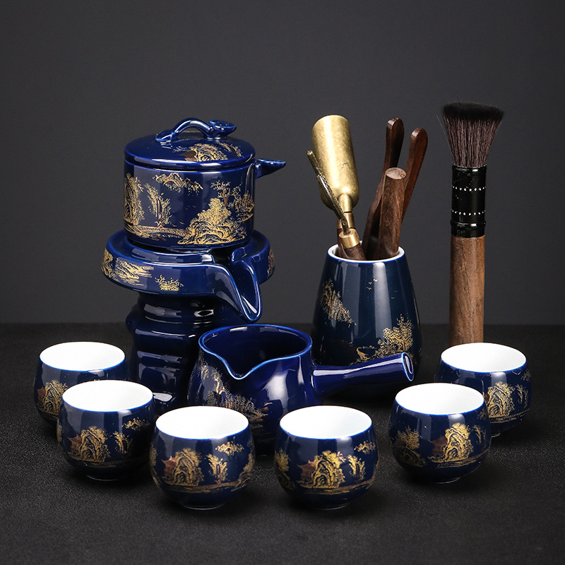 Xia Wei Kung Fu Tea set Home Chinese simple Ru kiln glaze open piece ceramic teapot covered bowl Teacup gift box