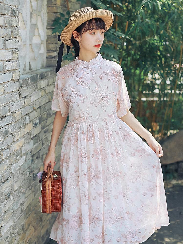 实拍现货国风复古印花 盘扣短袖雪纺裙修身连衣裙