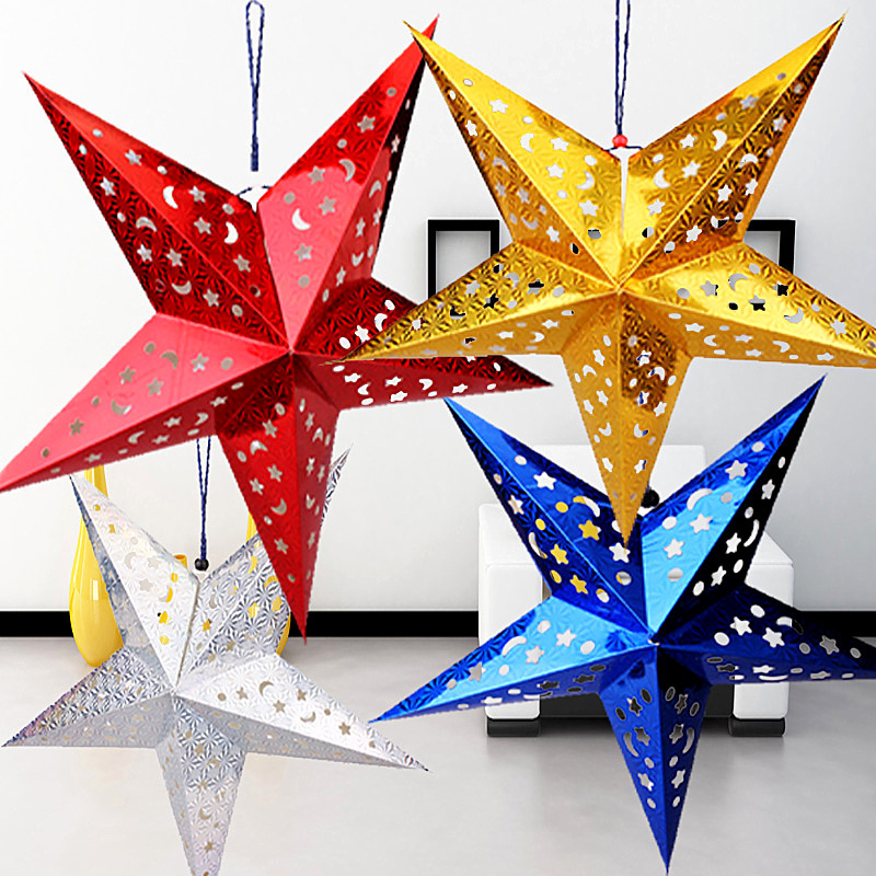 Christmas decoration gift ceiling hanging decoration double-sided three-dimensional laser five-pointed star lampshade bar star lampshade