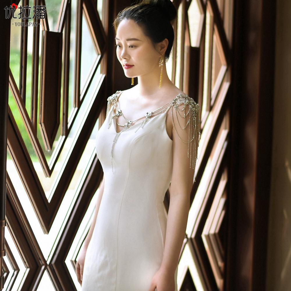 优拉潘 新款 镶钻新娘肩链 闪亮水钻珍珠 配饰 婚纱流苏披肩  G11