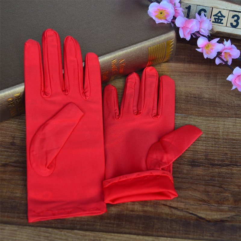 (New year red)Wedding supplies Bridal wedding ready red wedding gloves Short satin comfortable version