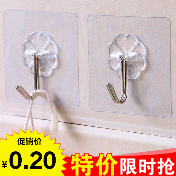 Wall transparent strong adhesive hook Creative glass dorm magic paste bathroom static non-trace door back sticky hook