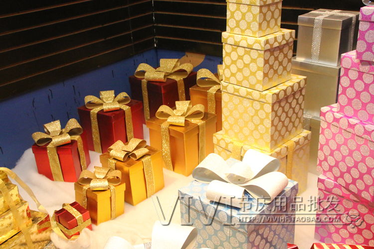 Christmas high-end gift box with cover Christmas window decoration Christmas tree bottom decoration Gift box pile head decoration