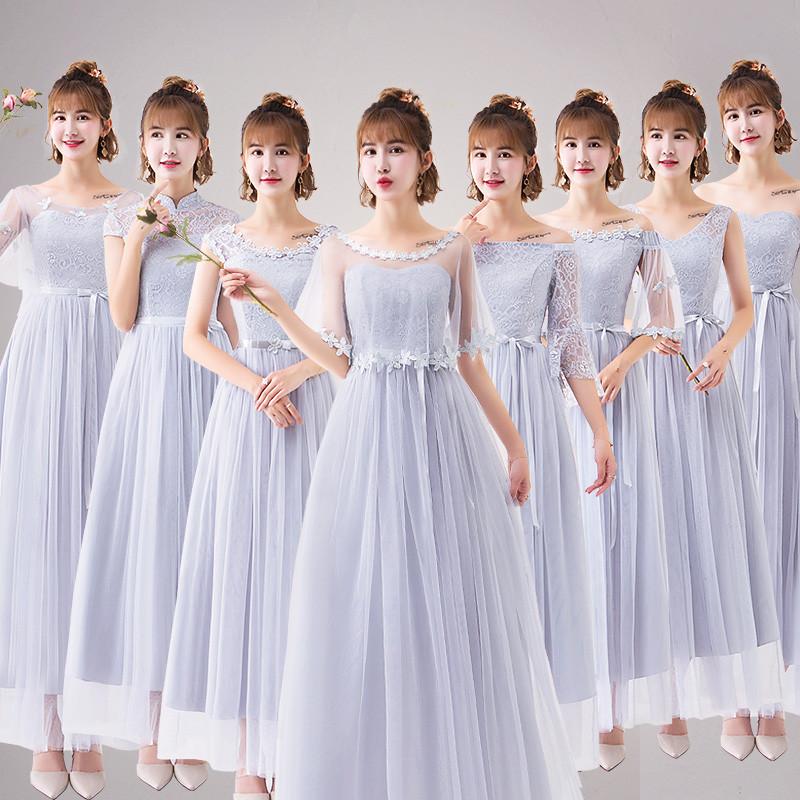 伴娘服长款女2019春季新款韩版灰色伴娘裙姐妹团显瘦毕业晚礼服