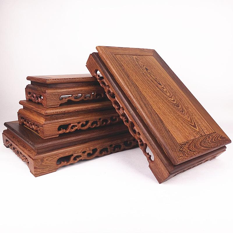 红木雕刻工艺品佛像摆件底座鸡翅木质长方形花瓶奇石头底座实木托
