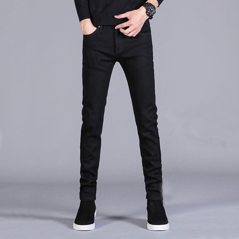 黑色青少年13小脚裤14初中学生15白色牛仔裤男16高中韩版18岁弹力