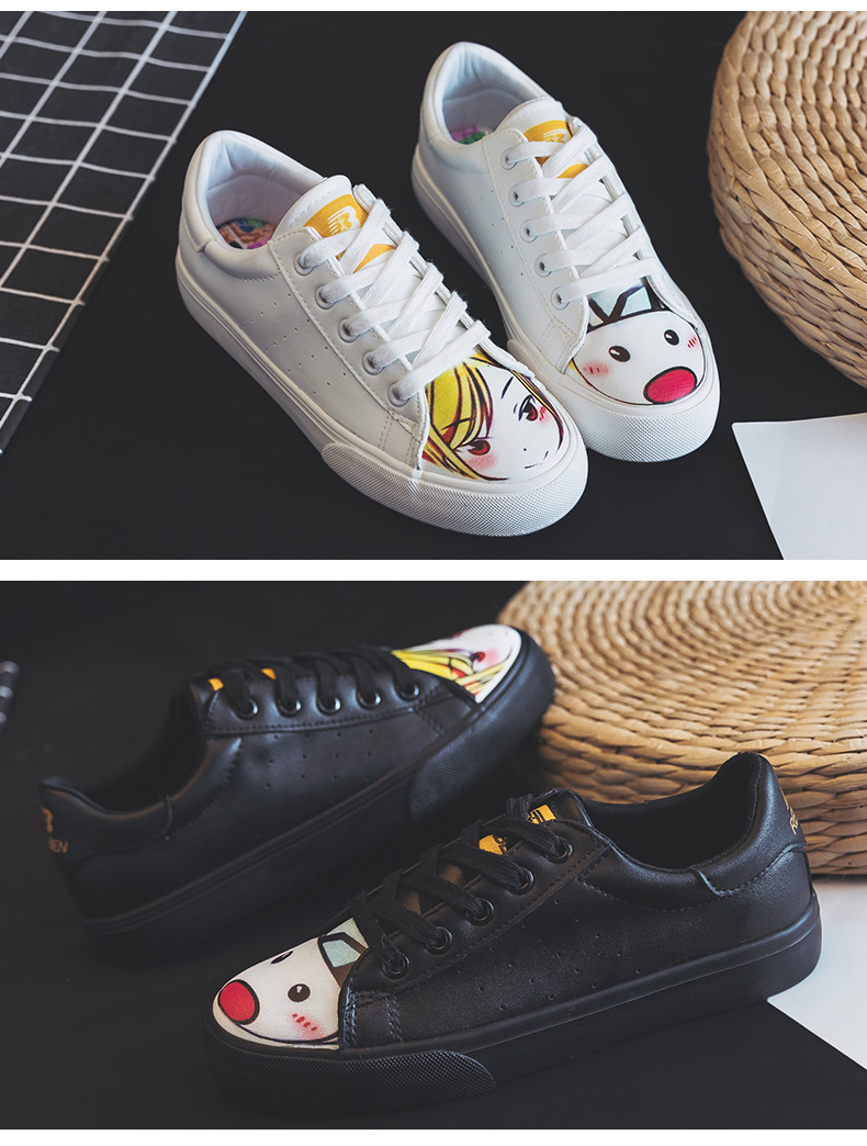 2019 small white shoes female Korean version girls canvas shoes students white shoes flat casual sports graffiti shoes 20