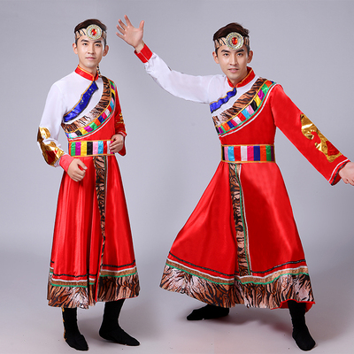 Men's Folk Dance Costumes Men's Tibetan dance costumes Tibetan minority performance costumes suit horse pole Guozhuang performance costumes adult