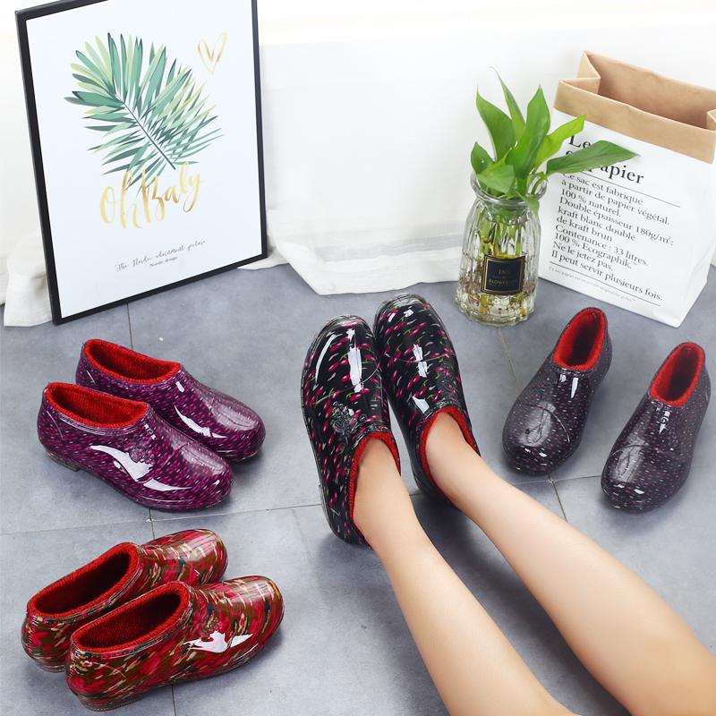 低帮雨鞋男女短筒防滑水靴厨房工作防水胶鞋套鞋加棉浅口塑胶水鞋