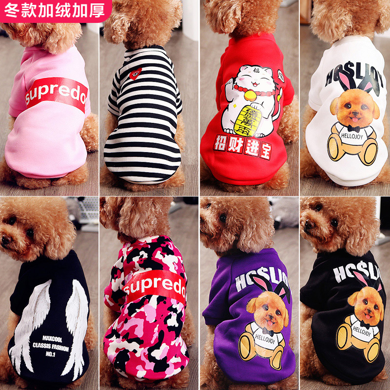 Net red pet dog Teddy clothes autumn and winter dressing method dog cat small dog four feet clothes new year new year