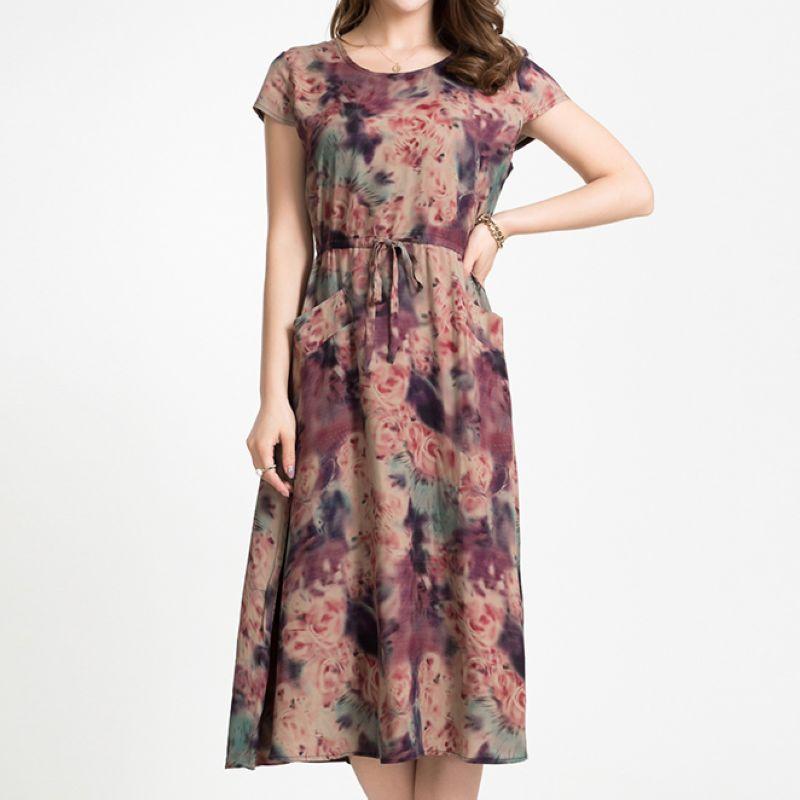 中老年女装中长款连衣裙妈妈装夏长袖T恤口袋圆领蕾丝宽松打底衫