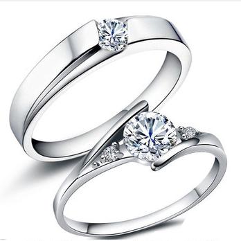 莫桑石情侣戒指纯银一对结婚礼钻戒男女款潮轻奢小众设计克拉对戒