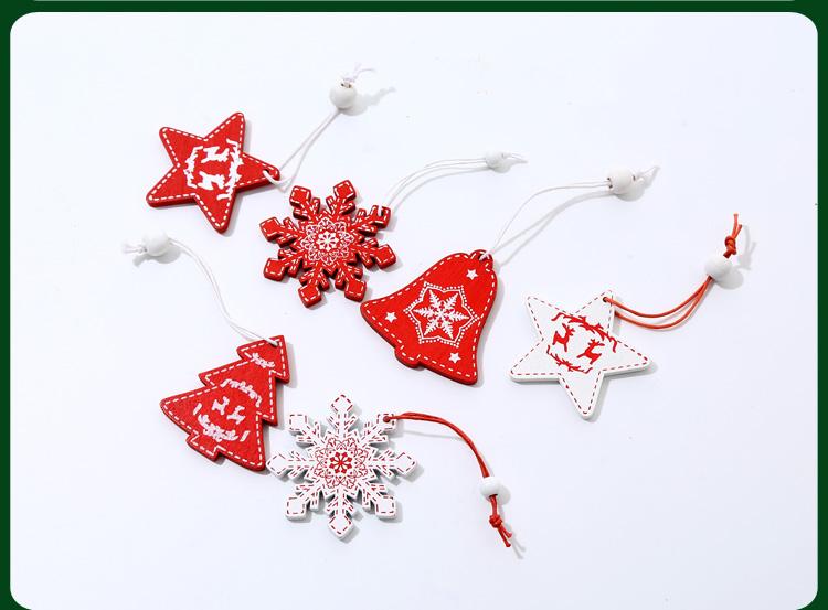 北歐INS木質掛飾吊飾 雪花迷你聖誕樹裝飾掛件星星聖誕裝飾品盒裝