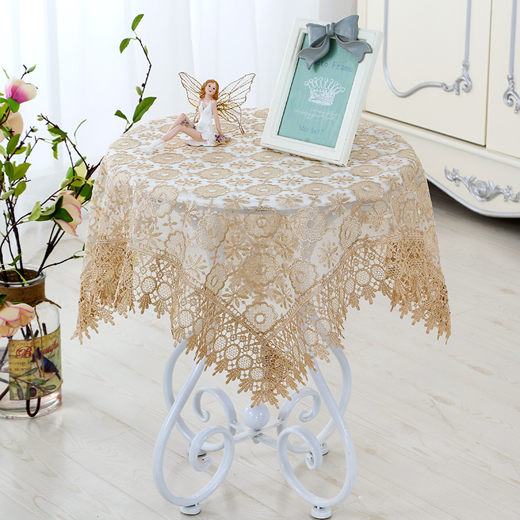 European Round Table Cloth Gl Yarn Tablecloth Coffee Mat Lace Bedside Cover