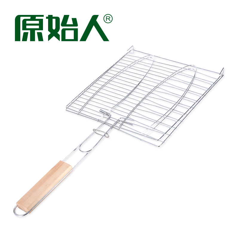 Primitive Outdoor Barbecue tool accessories with handle grilled fish clip grilled fish net grilled Burger net barbecue net