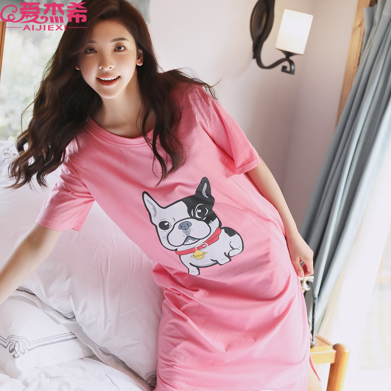 7139cbbbba9c Large size pajamas female summer nightdress fat mm loose cotton Korean  version of the dress fresh students can wear pregnant women dress