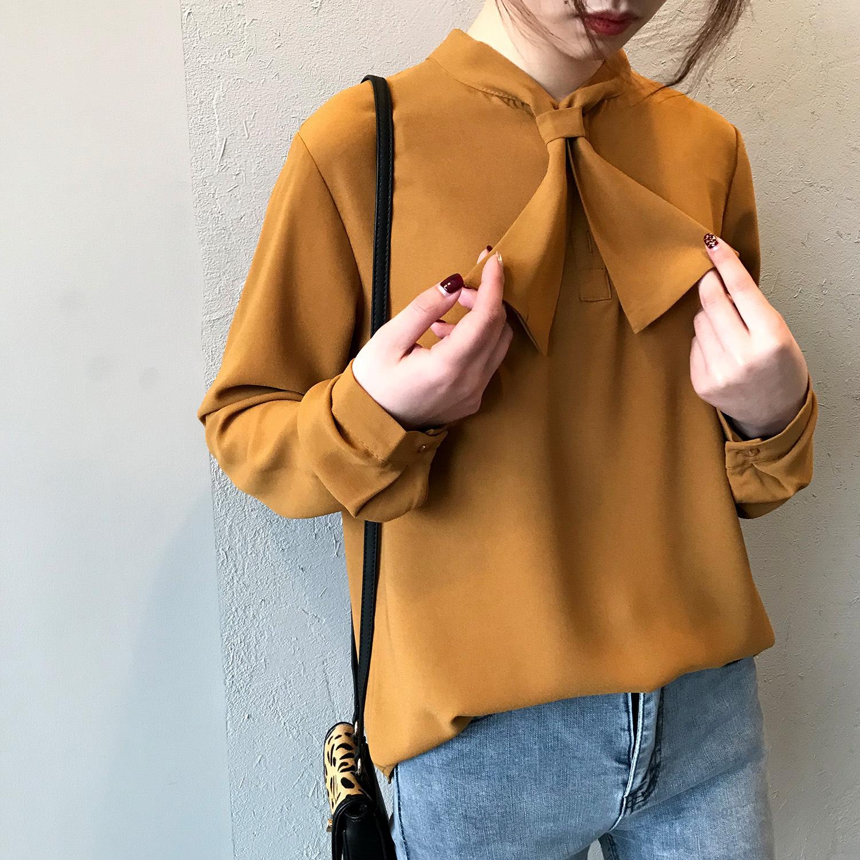 茉莉雅集2019春季新款很仙的宽松蝴蝶结衬衫女长袖系带衬衣