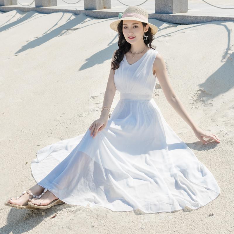 2019夏季女波西米亚雪纺白色裙v雪纺长裙沙滩裙v领显瘦无袖连衣裙