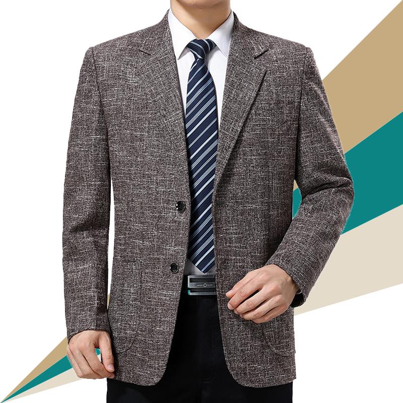 春秋中老年便服爸爸西装男士装单西西服中年v便服免烫薄款外套单件