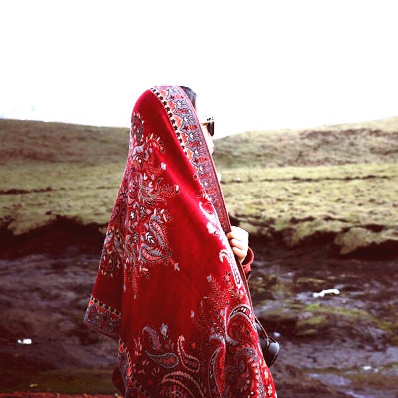 披肩风沙漠云南旅游红纱巾女防晒披肩西藏内蒙a披肩围巾围巾民族