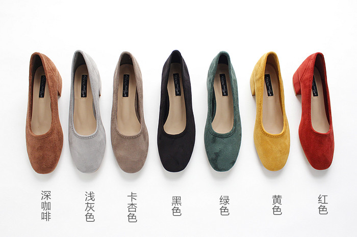 18 new spring and autumn shallow rough suede shoes plus velvet popular shoes low-heeled size women shoes 18