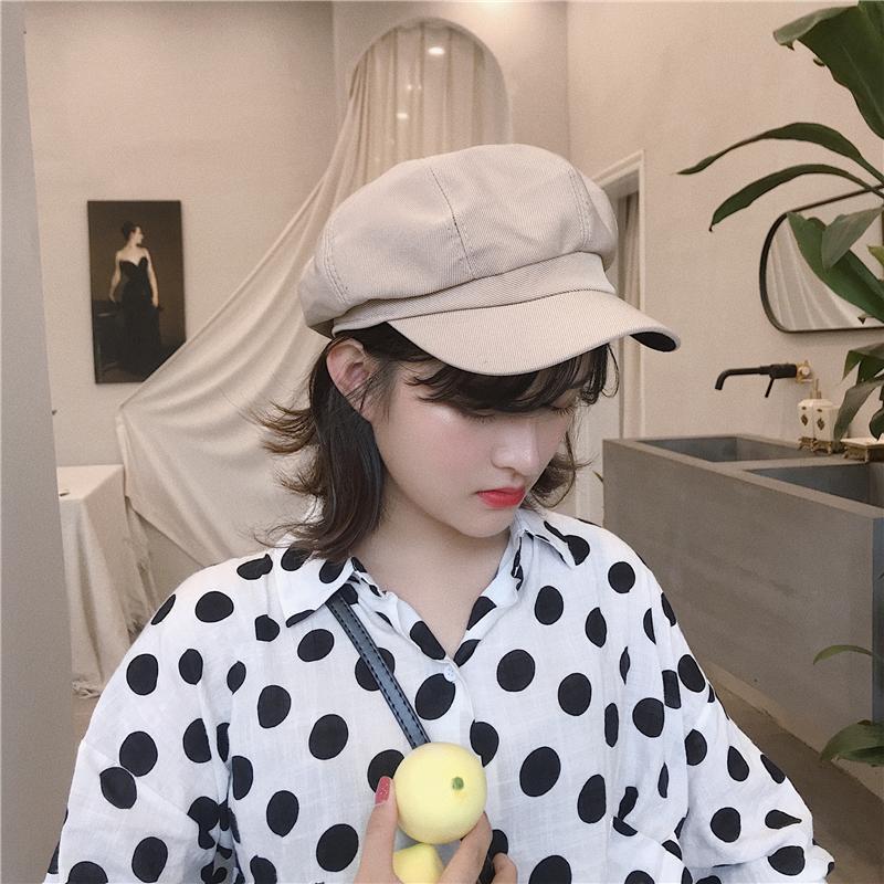 韩版文艺画家女八角帽英伦复古百搭鸭舌帽v文艺帽子纯色潮男贝雷帽