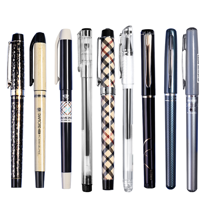 宝克中性笔0.5mm钛钢笔头子弹头水笔黑色学生文具用品碳素笔芯考试专用速干全针管式大容量办公签字0.7/1盲盒