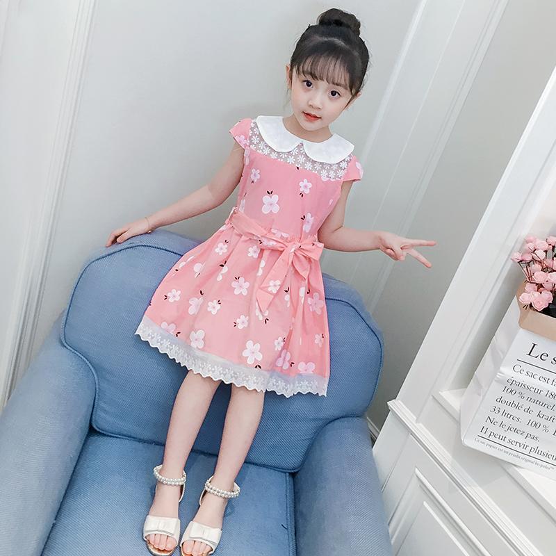 Детское на девочку Летнее платье короткий рукав 2018 новая коллекция корейская  версия детские для маленькой принцессы юбка чистый хлопок Платье для девочек