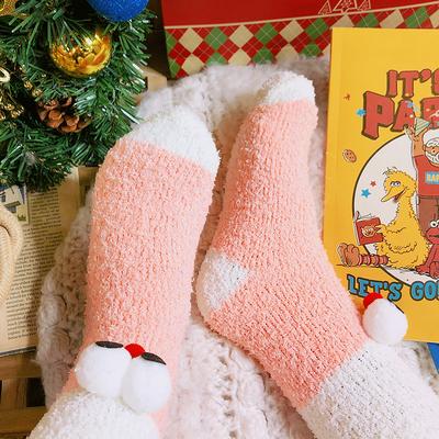 大眼睛袜子女秋冬纯棉可爱中筒 百搭睡眠袜子女保暖卡通堆堆袜
