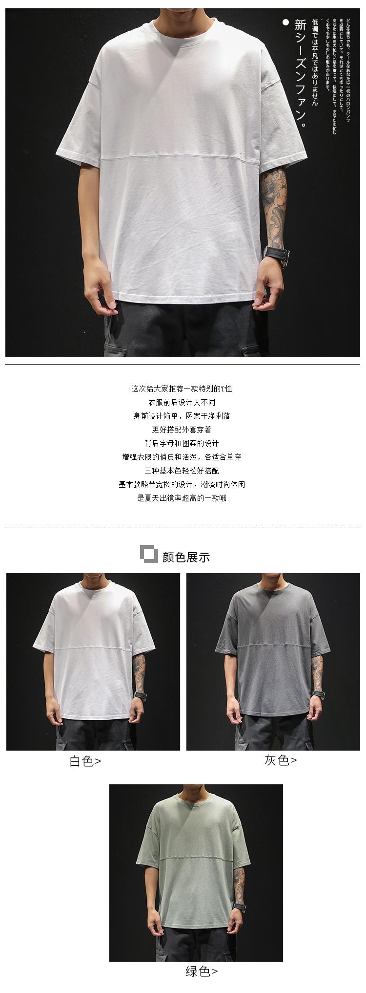2019新款夏季字母印花T恤圆领纯棉舒适百搭短袖 黑墙1 T1906 P35