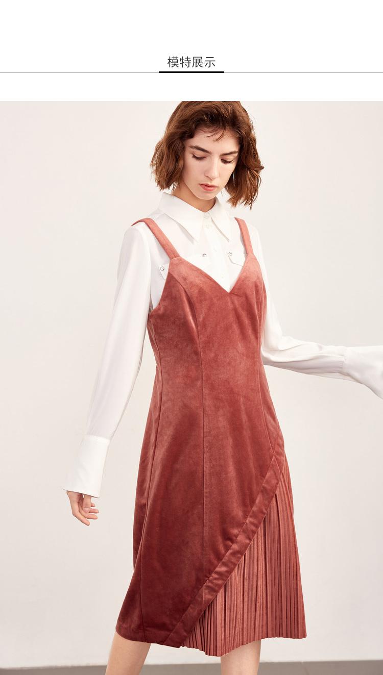 Lily2018冬新款女装不对称,压褶设计,修身版型优知性绒感修身吊带连衣裙