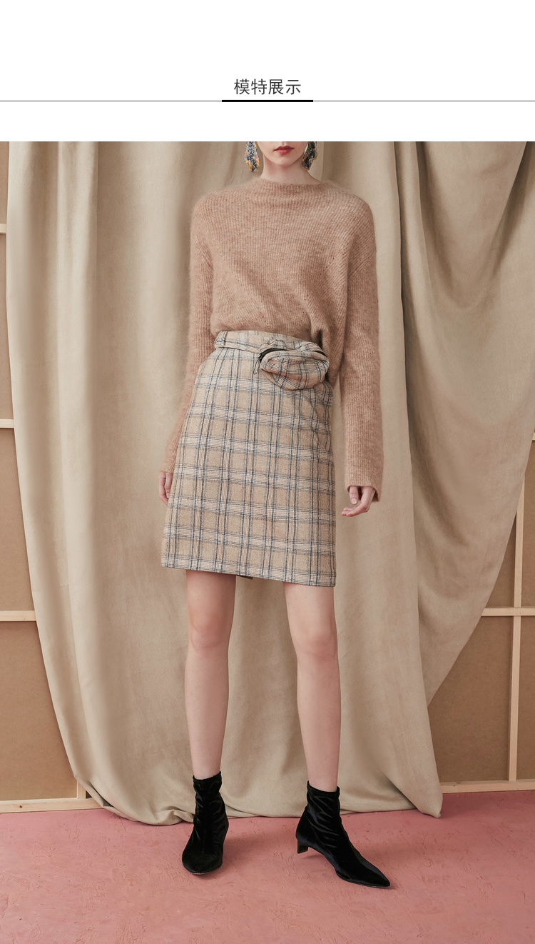 Lily2018冬新款女装A型轮廓,腰包设计,复古格纹时髦腰包半身裙格子毛呢中裙 13