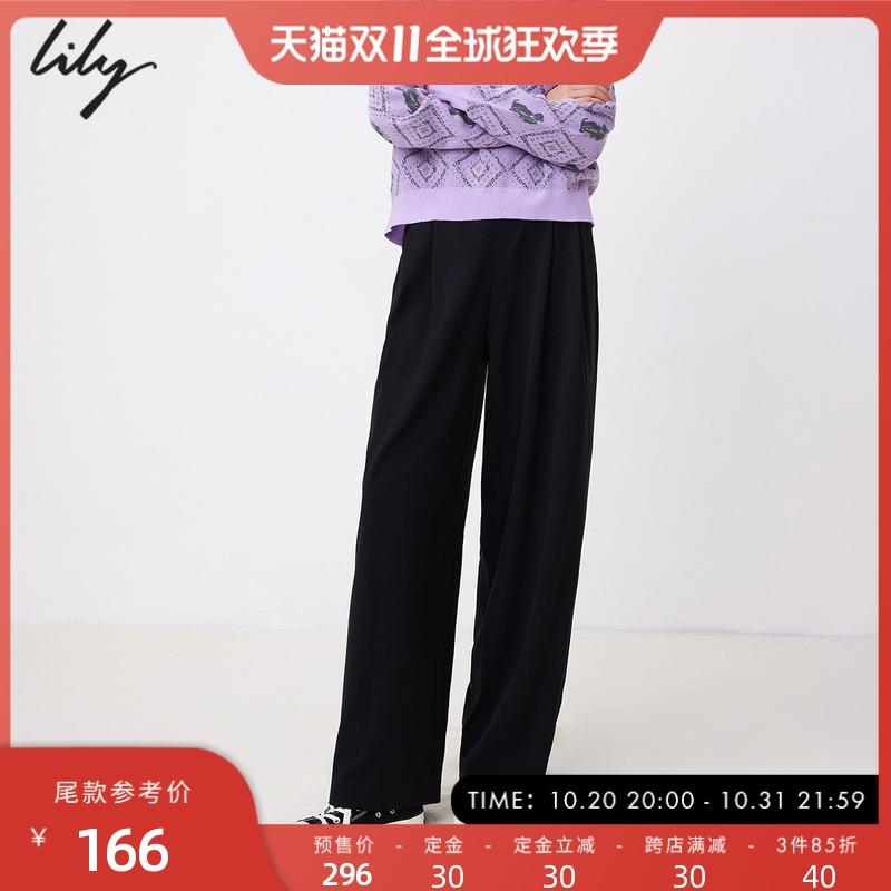 【天猫预售】LILY2021冬新款女装高腰休闲阔腿裤黑色直筒西装长裤