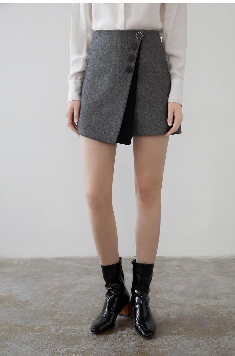 Lily2019春新款女装商务不对称,裙裤设计,肌理斜纹斜纹裙裤休闲裤