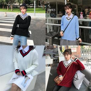 實拍學院風拼色毛衣女套頭秋冬新款韓國學生寬松打底毛針織衫