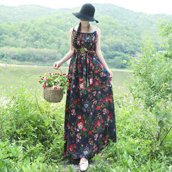 Cotton and linen sleeveless sling spring and summer new ethnic style women's retro literary print mid-length loose dress