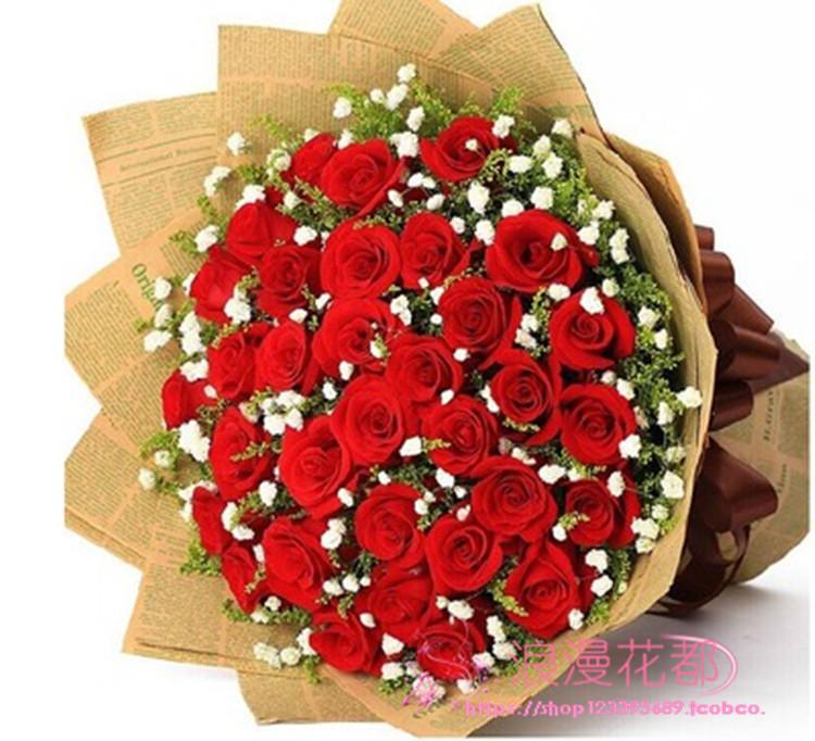 章丘鲜花花店红玫瑰情人节鲜花同城v鲜花生日鲜花定制长清济南送花