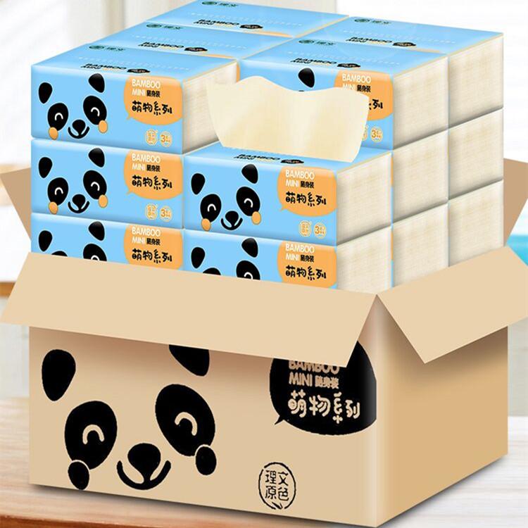 理文本色紙抽紙巾嬰兒用竹纖維餐巾紙寶寶面巾紙90抽30包整箱裝