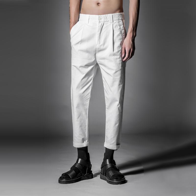 Quần áo nam chính hãng 3 màu cotton pha vải tùy chỉnh Quần ba lỗ nam giản dị cắt quần chín điểm mùa xuân và quần mùa hè - Quần tây thường