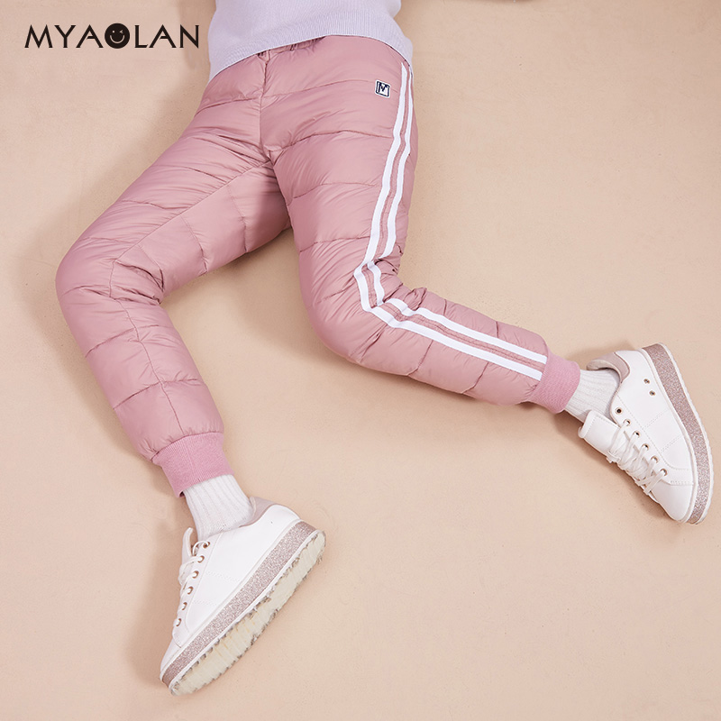 Girls down pants wear winter plus velvet plus thick warm pants winter wear big children's casual pants children's cotton pants