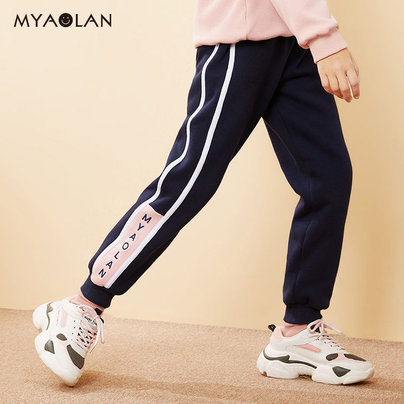 Autumn and winter new girls warm sweatpants in large children's casual pants children's trousers loose plus velvet plus thick atmosphere