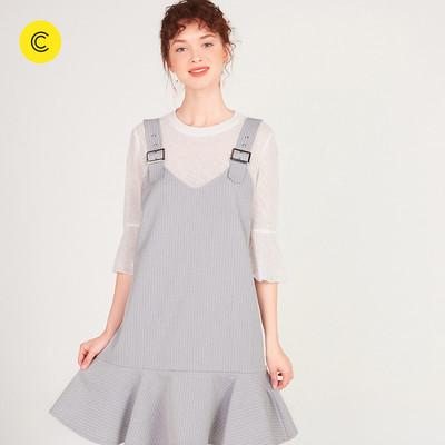 Cachecache dây đeo váy nữ mới của Hàn Quốc lỏng ruffle váy hai mảnh váy nữ Sản phẩm HOT