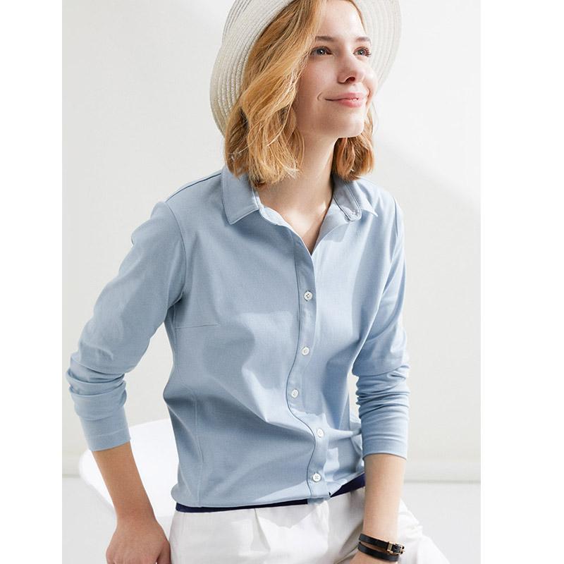 茉莉雅集美色焕新 双丝光丝滑长绒棉衬衫MZDZK006